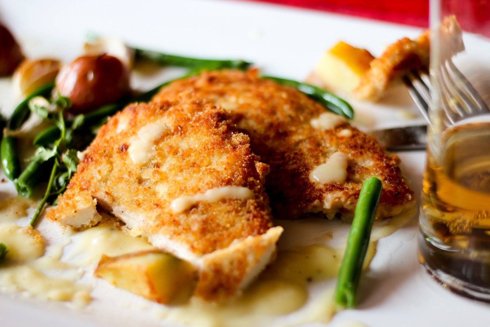 trout schnitzel with mustard caper cream sauce and a pan seared ...