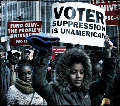 Modern voter suppression protest