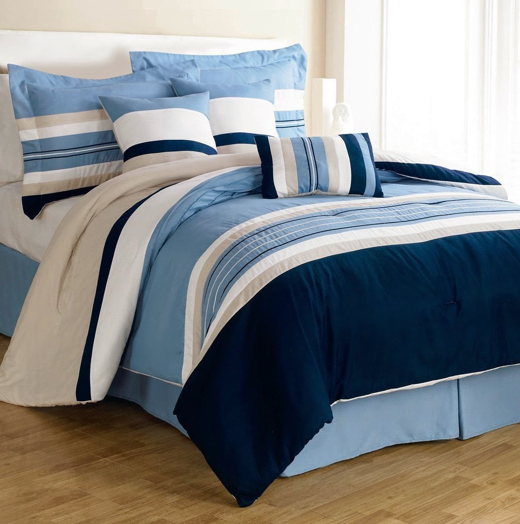 Blue Beige White Striped Boys Bedding Bed Linen Or: Earth & Sky: Blue And Beige Comforters & Bedding Sets