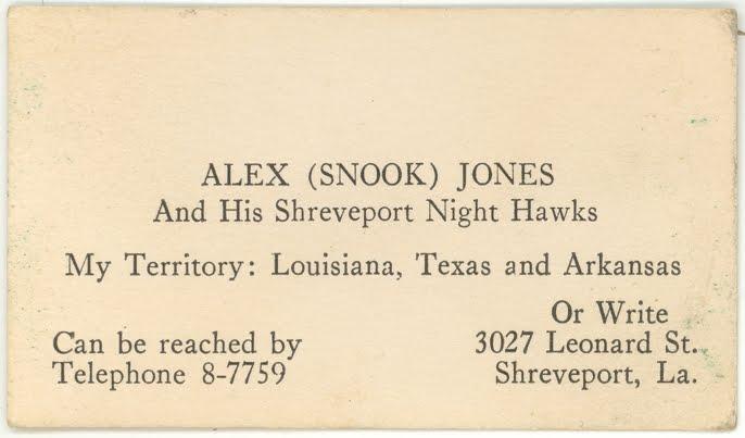 Shreveport songs 2011 alex snook jones and his shreveport night hawks business card undated reheart Images