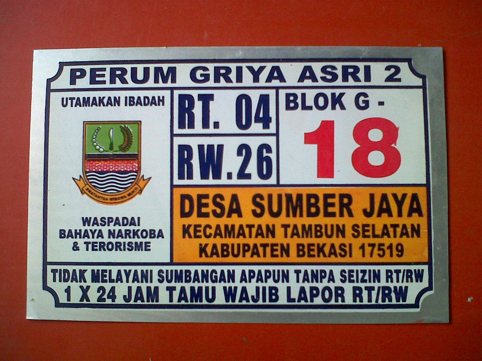 PERUM GRIYA ASRI 2 TERTIB LINGKUNGAN