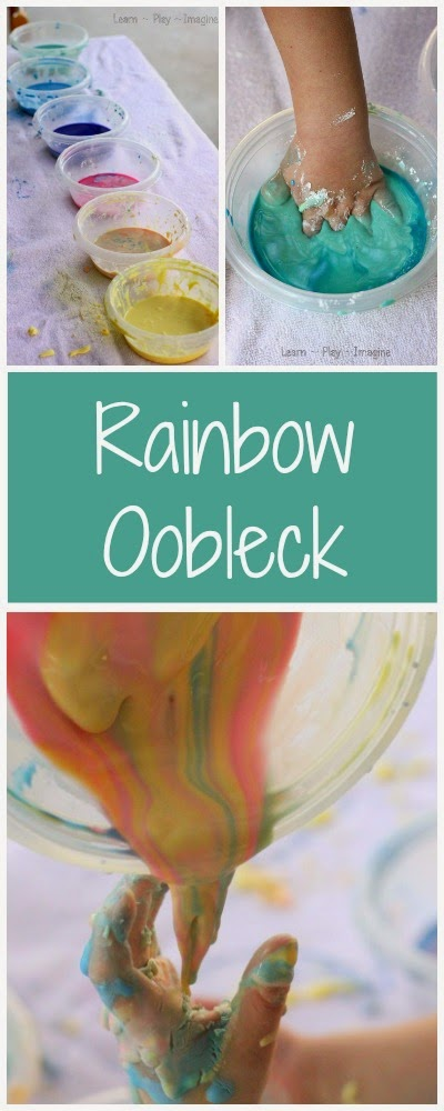 Making an Oobleck rainbow to explore color theory through sensory play