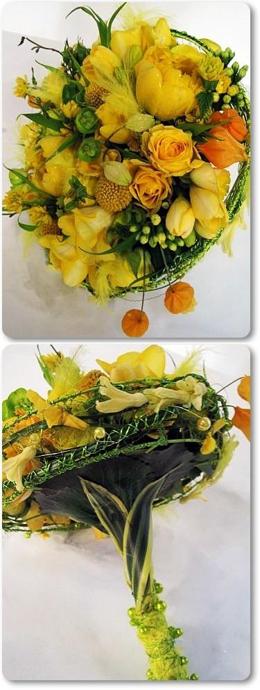 brudbukett gul, brudbukett påsk, annorlunda brudbukett, design bridal bouquet, modern bridal bqouet