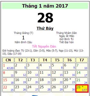 Tết 2017 vào ngày bao nhiêu dương lịch
