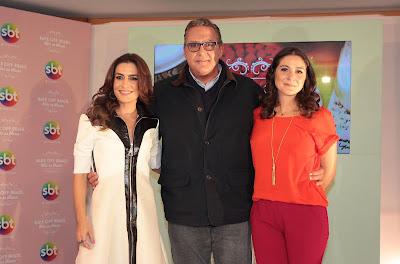 A apresentadora Ticiana Villas Boas e os jurados Fabrizio Fasano Jr. e Carolina Fiorentino. Crédito: Leonardo Nones/SBT