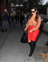 Kim Kardashian looking hot in leather skirt