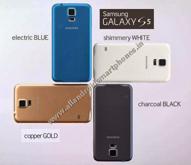 Samsung Galaxy S5 SM-G900I Android Kitkat 4G Phablet Back Side Black Blue Gold White Color Images Photos Preview