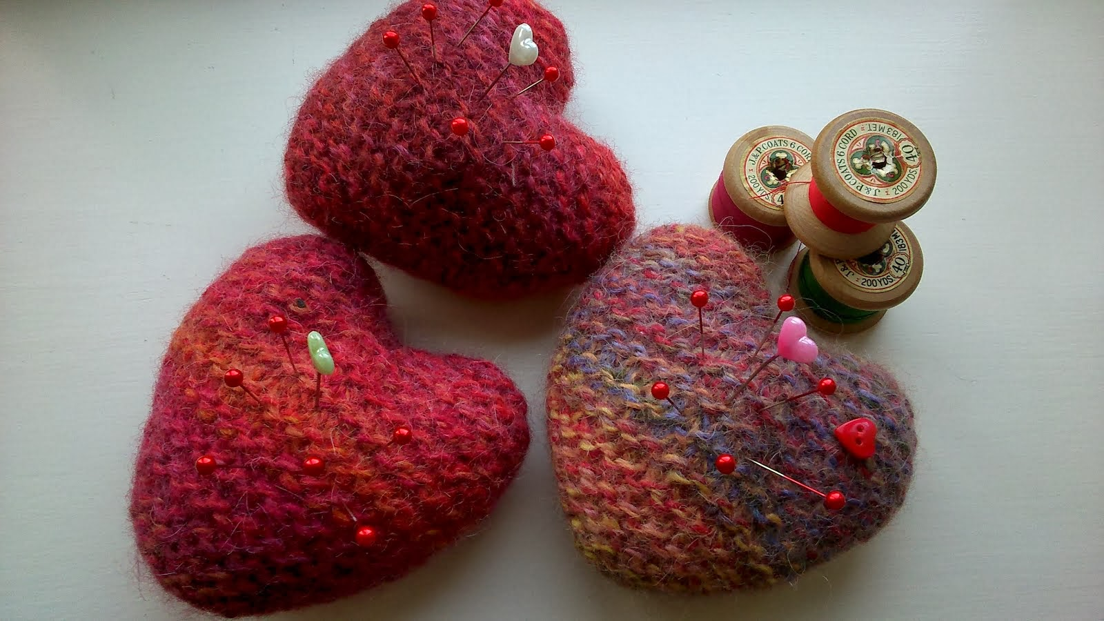 my felted hearts