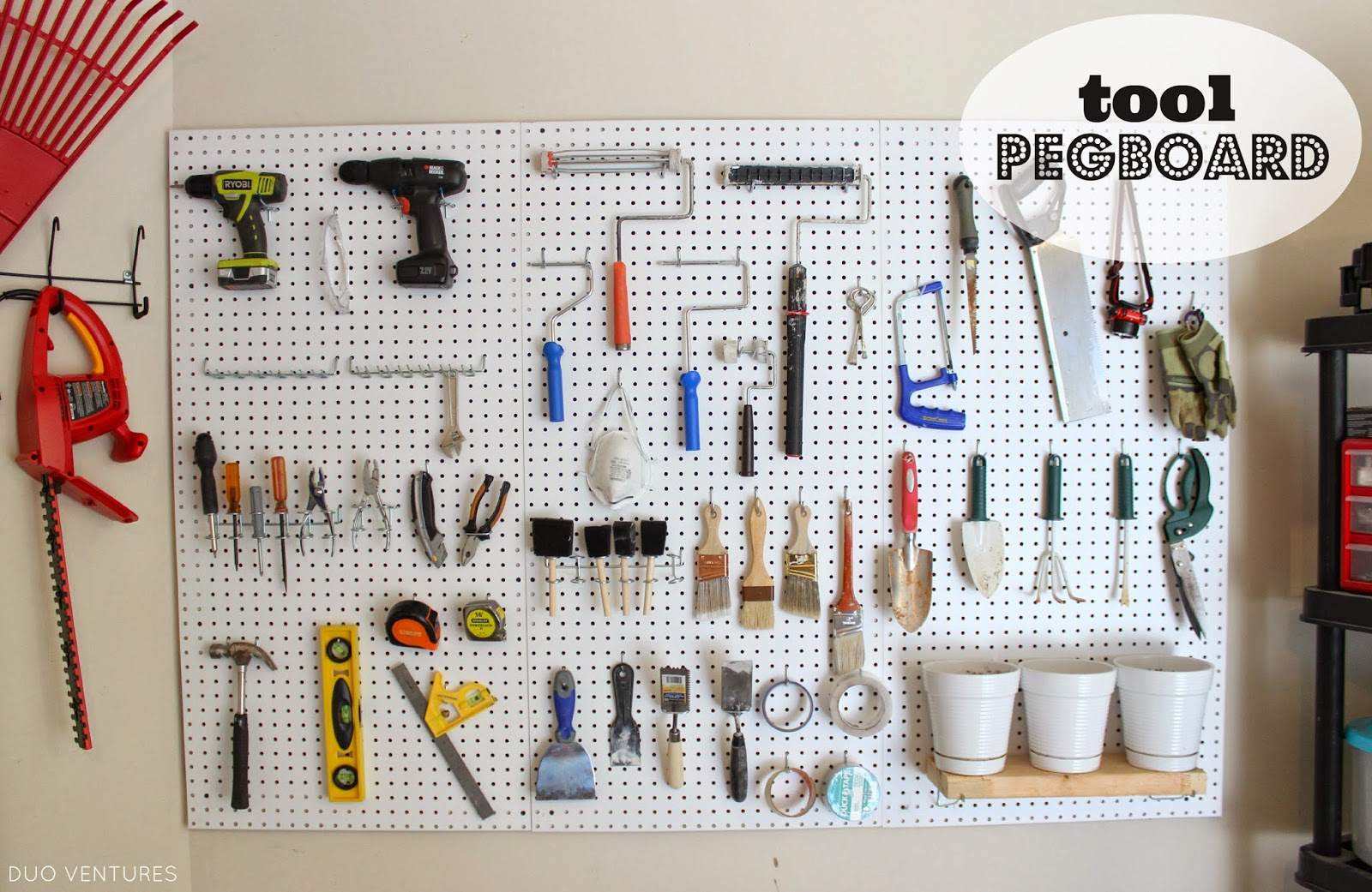 creative with decoration pegboard before overhead organization mounted after small peg garage and hooks ideas board diy storage bike