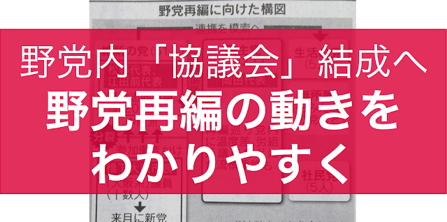 野党再編を睨んで、民主党岡田代表と維新の党松野頼久代表が話しあった。日本経済新聞の報道では、通常国会が終わった9月末から「協議会」を立ち上げ、臨時国会に向けて統一会派構想を練るなどの動きになるとみられる。同時期に10月1日には橋下新党「おおさか維新(案)」が結党される。「協議会」の構想や政党の思惑、統一会派構想について整理しておく。