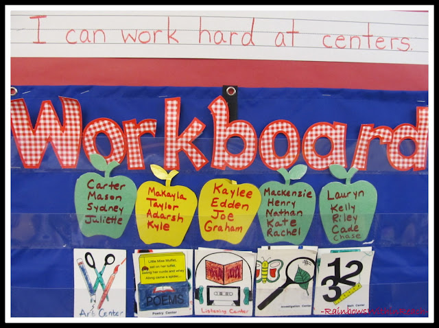 """photo of: Workboard Job Assignment Chart with """"I Can"""" Statement"""