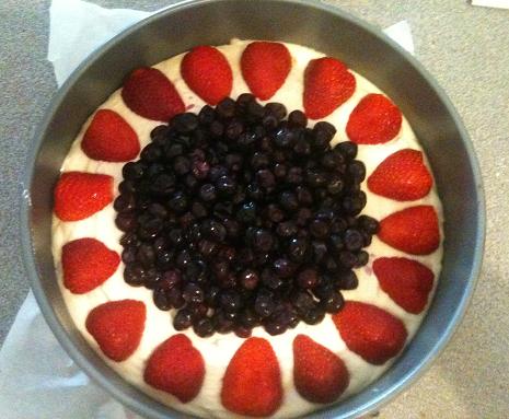 Dairy Free Strawberry and Blueberry Cake Raw