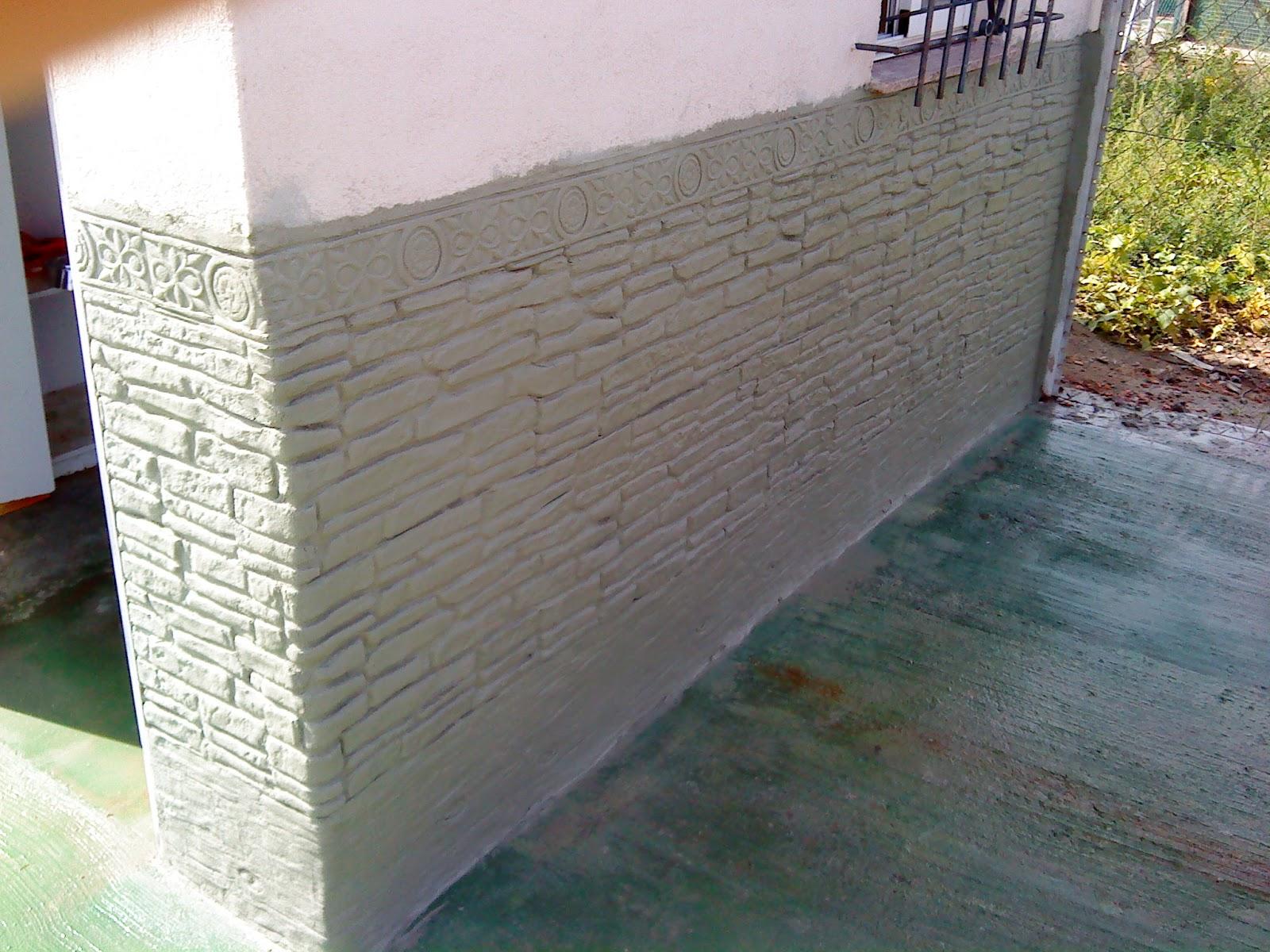 Decoracion de paredes con relieves zocalo con mortero - Pared imitacion ladrillo ...