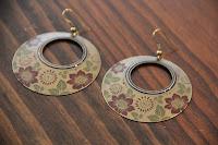 Vintage Painted Bronze Circle Earrings by hotGlued