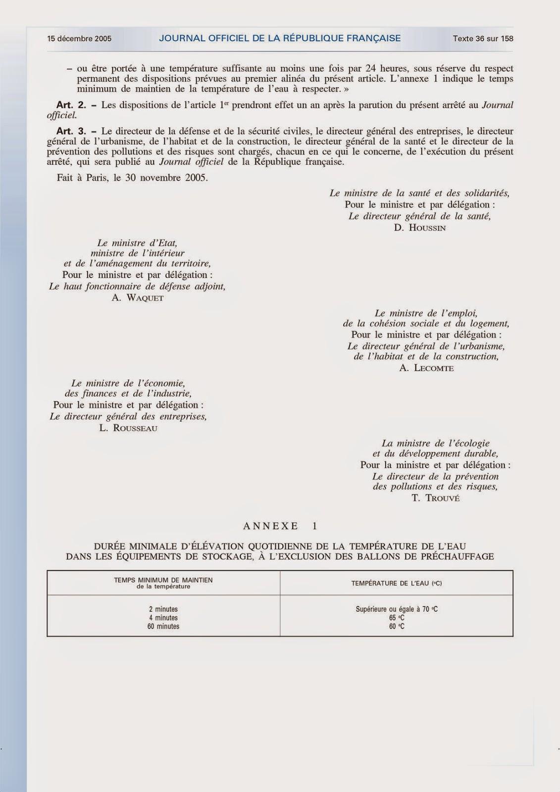 ECS arrêté du 30 novembre 2005 / 2