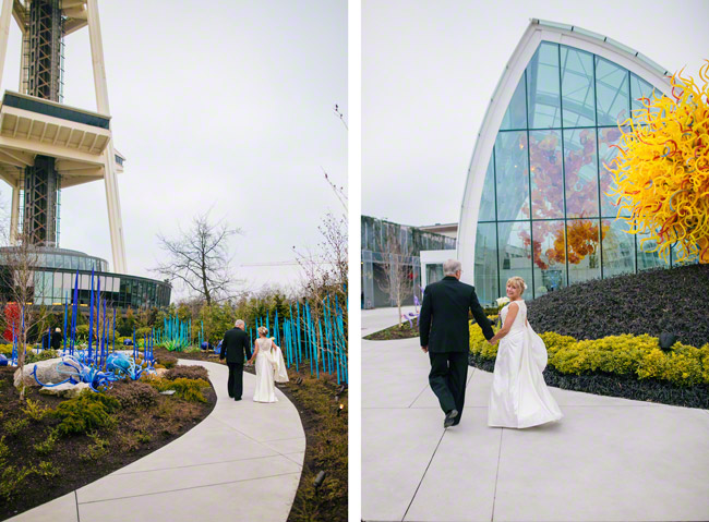 bride and groom Chihuly Garden and Glass Wedding Seattle