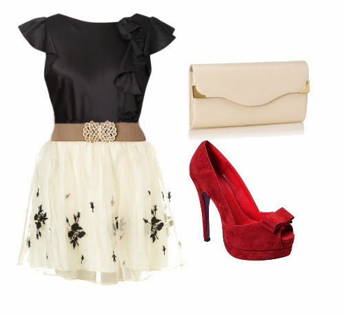 Super combination of black-wight dress with red high hilss and bag