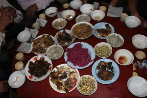 Food at the wedding party of the Dzao people