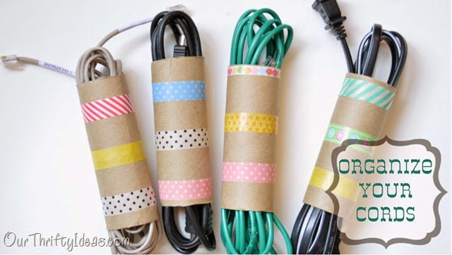 Organize Cords -- 11 Ways to Organize with Washi Tape :: OrganizingMadeFun.com