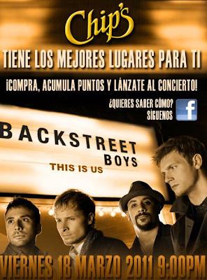 premios pase doble VIP y soundcheck, 3 boletos para ver a los Backstreet Boys el viernes 18 de Marzo en la Arena Monterrey promocion Chips Barcel Mexico 2011