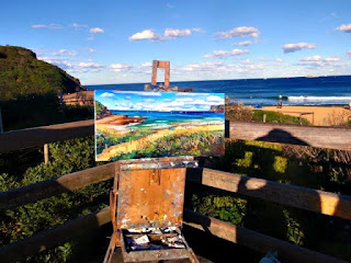 Jane Bennett industrial heritage artist painting ex HMAS Adelaide from Avoca Beach