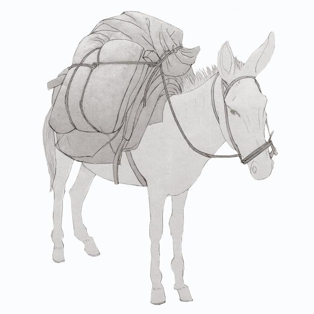 macho cargado con sacos , de cereal, animales de carga