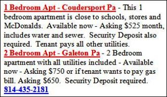 Apartments For Rent: Coudersport, Galeton