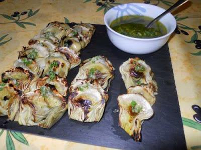 Alcachofas cocidas a la plancha.