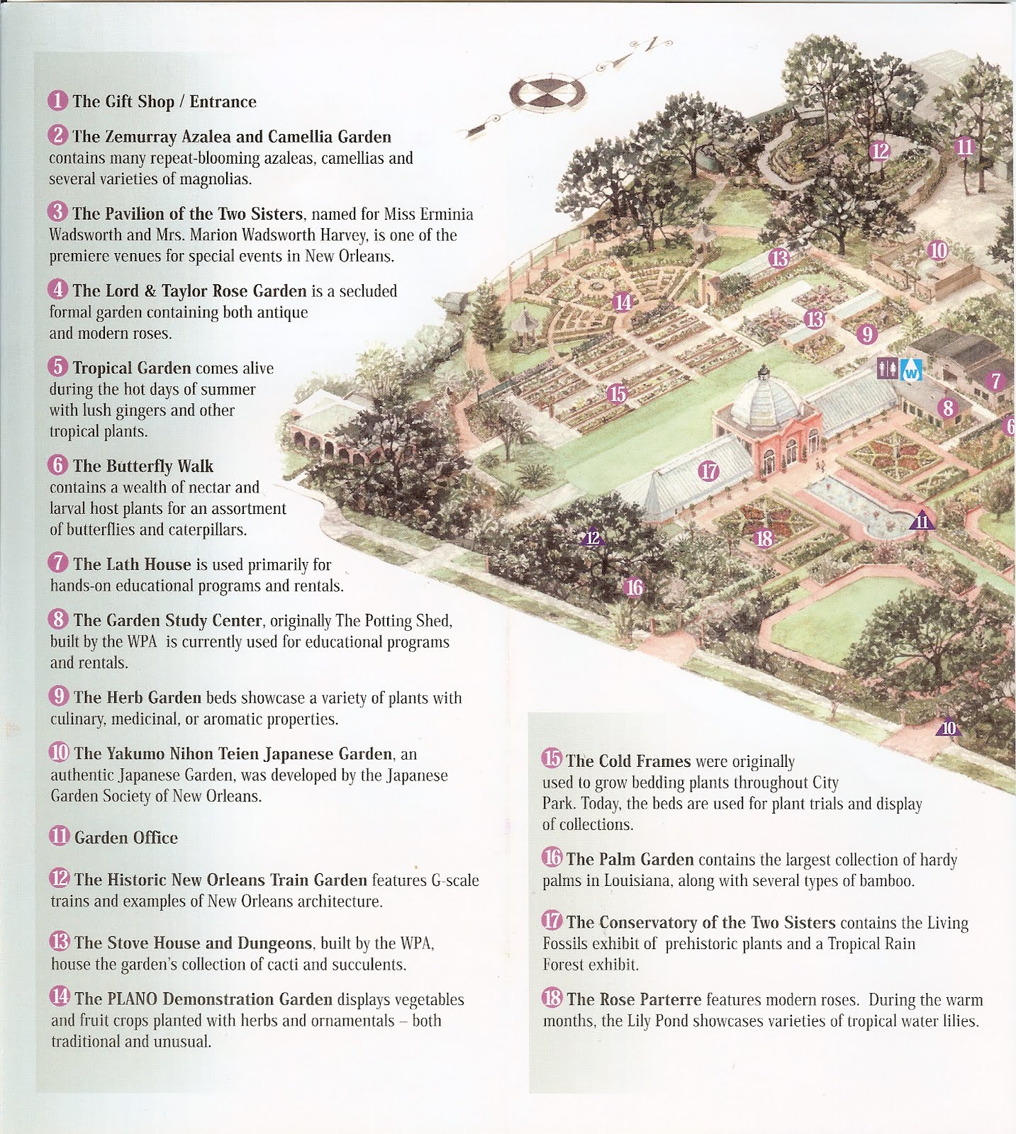 New Orleans Botanical Garden Brochure And Garden Map ...
