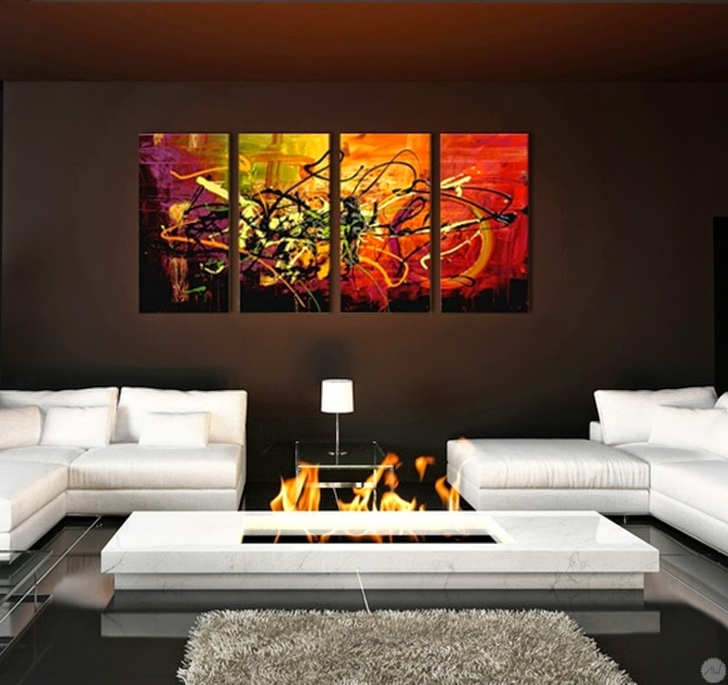 Tableau moderne couleur chaude for Tableau deco contemporain