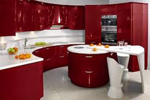 Interior Dapur Modern Dengan Warna Merah