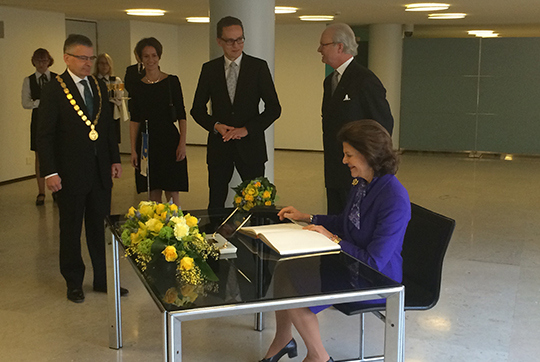 Queen Silvia and King Carl XVI Gustaf of Sweden attend a press conference at the Hanasaari Swedish-Finnish Cultural Centre in Espoo, Finland