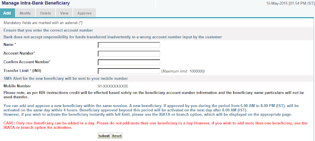 SBI Intra Bank Beneficiary Form