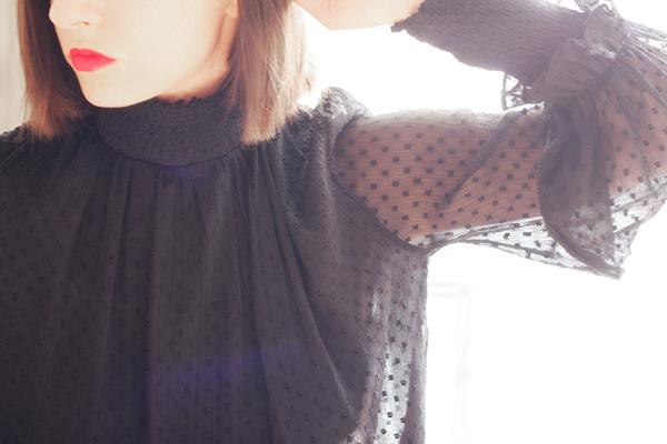 blouse plumetis noire zara clémence m