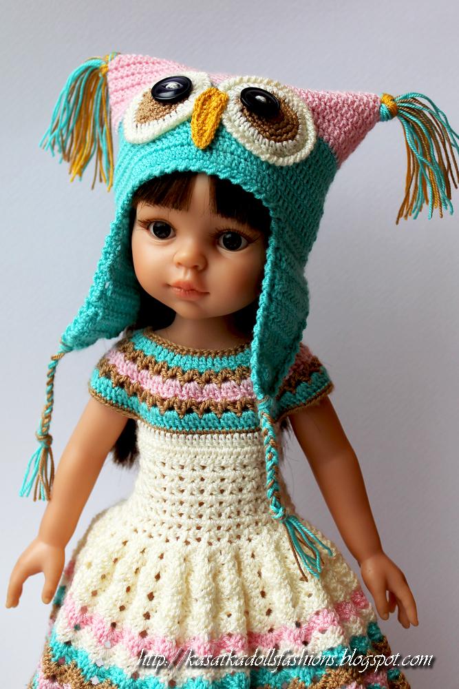 Вязать шапочку для куклы крючком 29