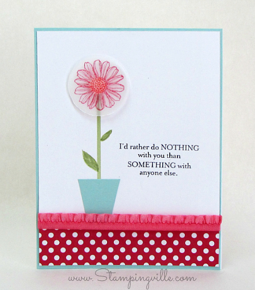 Daisy card with vellum stamped image and ruffle trim