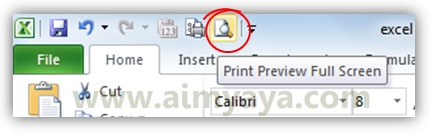 Gambar: Tombol Print Preview Full screen di microsoft excel