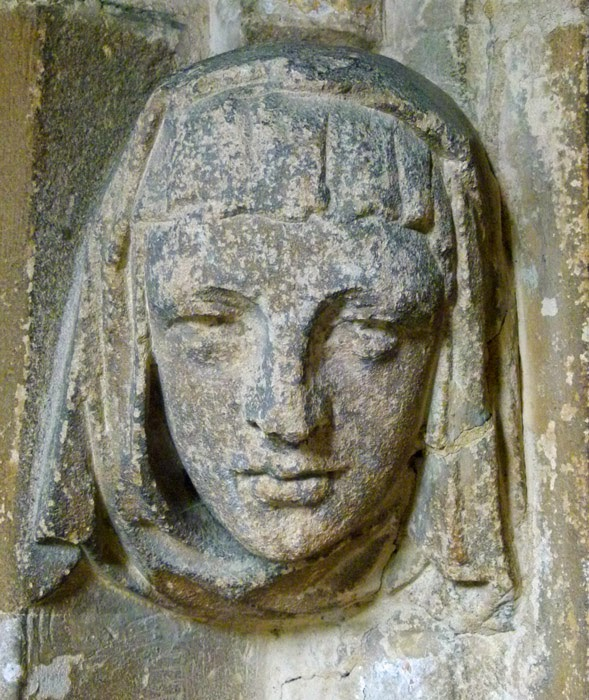 Medieval carving, St Cyriac's, church, Lacock, Wiltshire.