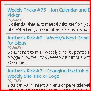 Recent Posts widget for Weebly Using Feed Reader