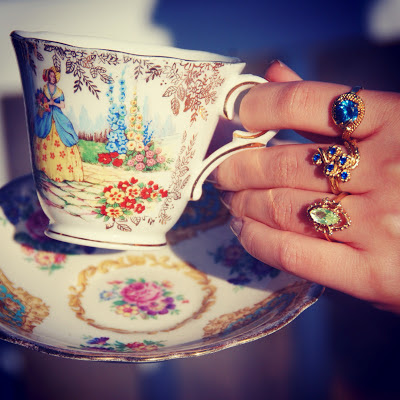 teacup costume jewelry rings