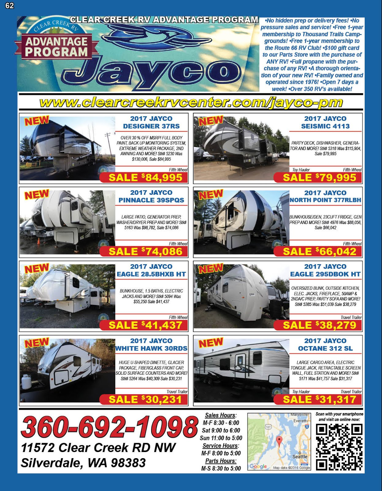 Clear Creek RV Center Clear Creek RV Advantage Program on Jayco Inventory!!
