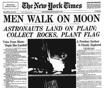 La llegada del hombre a la Luna portada del The New York Times