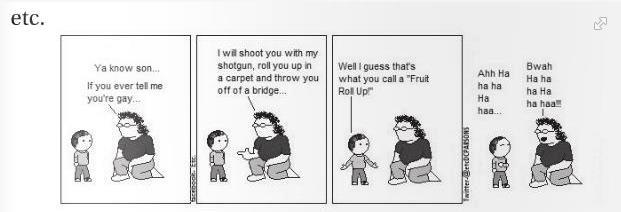 Etc. comic strip of a father threatening to murder his son if he is gay.