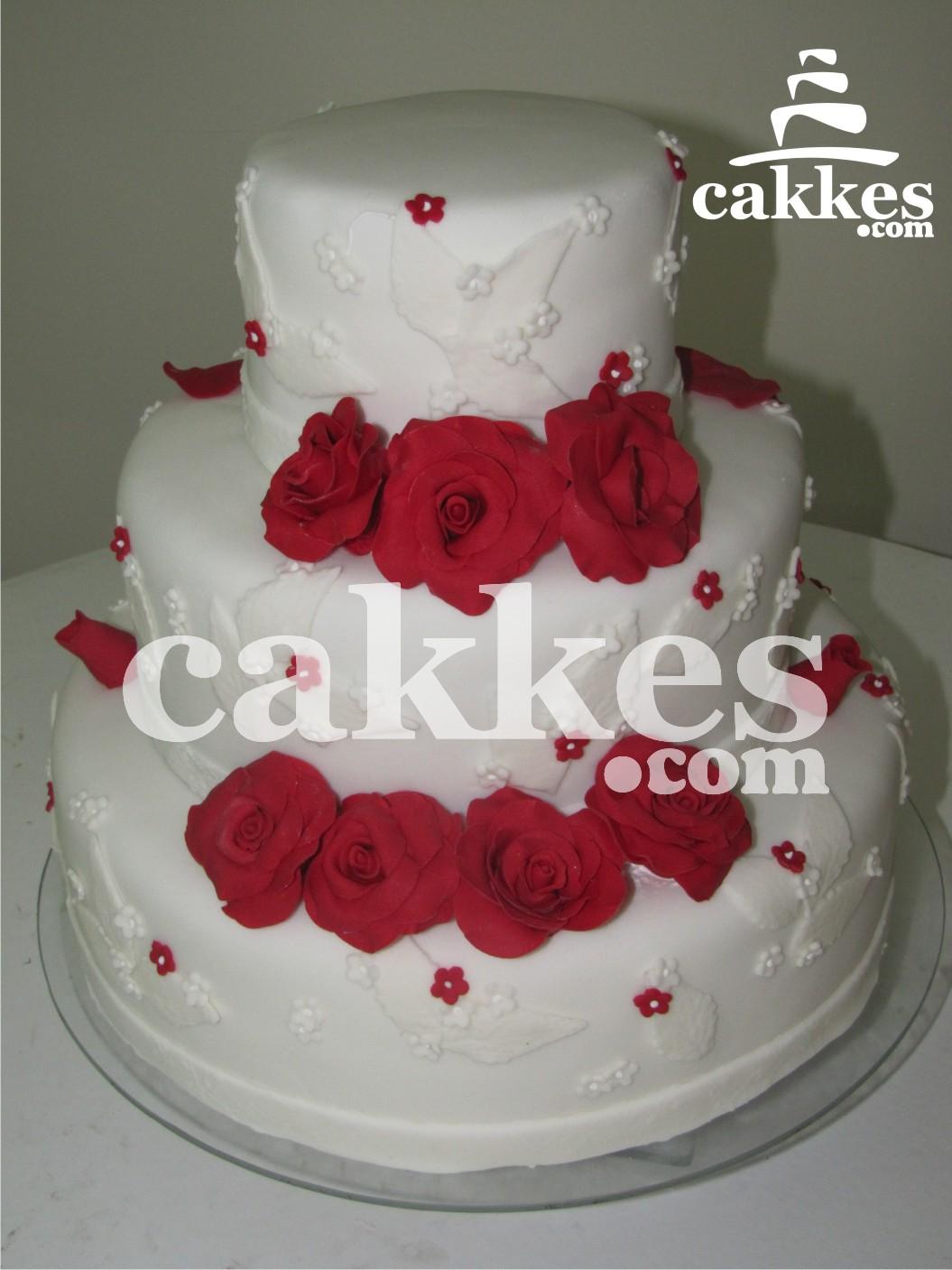 Bolo Casamento  Cake Wedding  Bolo Rosas Vermelhas  Bolos Decorados