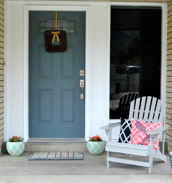 porch, before and after, blue door, gray chair, navy, coral,