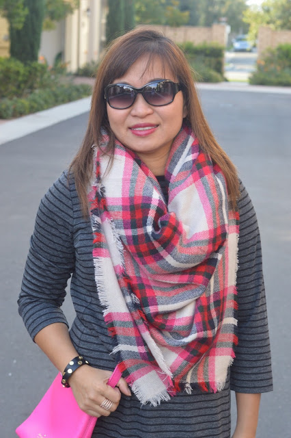 Loft Stripe Sweater Dress, Express Blanket Scarf