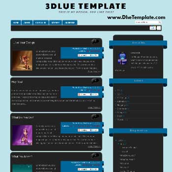3Dlue V1 blogger template. template blogger 3d style