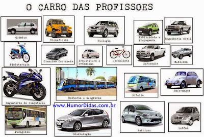 O carros das profissões para usar no Facebook