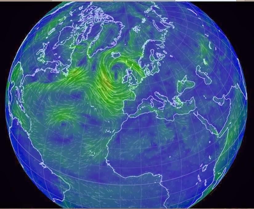 Ventos em todo o Globo Terrestre