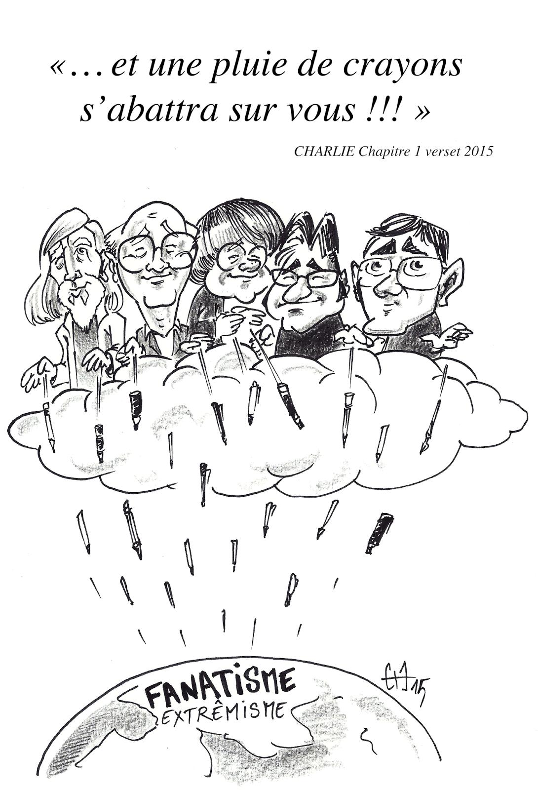 Dessin hommage par Guillaume Néel à ses pairs Dessinateurs de Presse au Charlie Hebdo